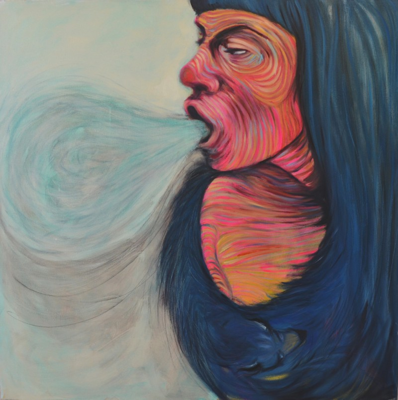 She Was Her Cutter in Mink Furs         a  crylic, pencil, oil on canvas, 48 x 48 inches     2013