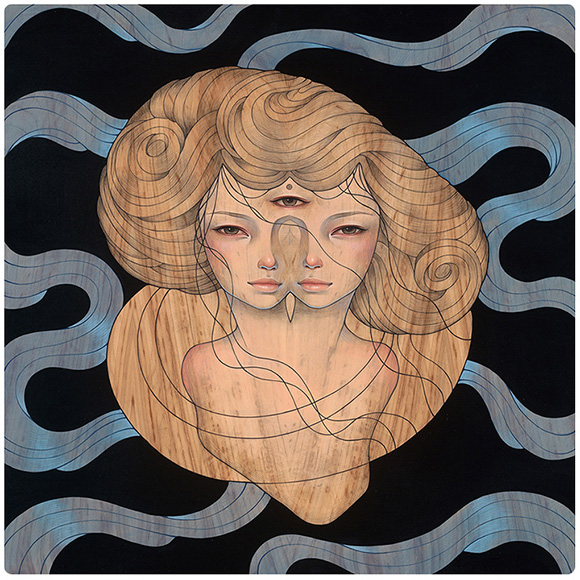 "Just The Two Of Us    oil, ink, and graphite on wood 22.5""x22.5""  2013"