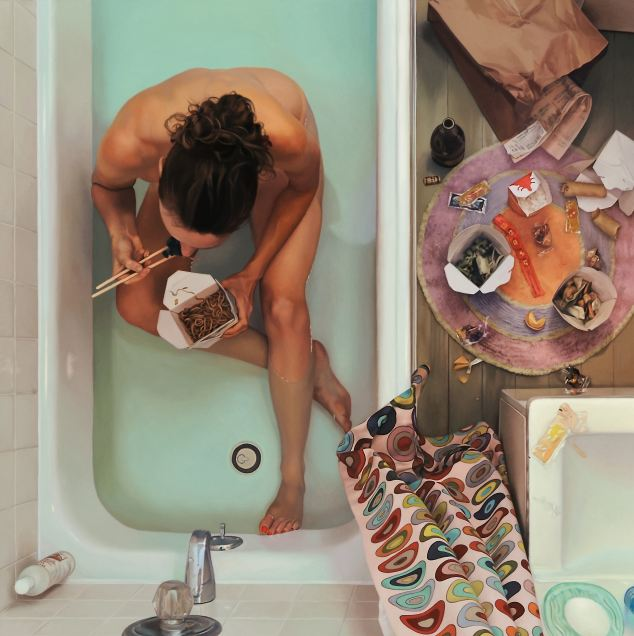 "Self-Portrait in Tub With Chinese Food         oil on linen, 44"" x 44""      2009"