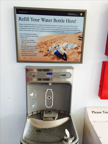 Water bottle refill station in Province Lands Cape Cod visitor center. Photo: National Parks Service.