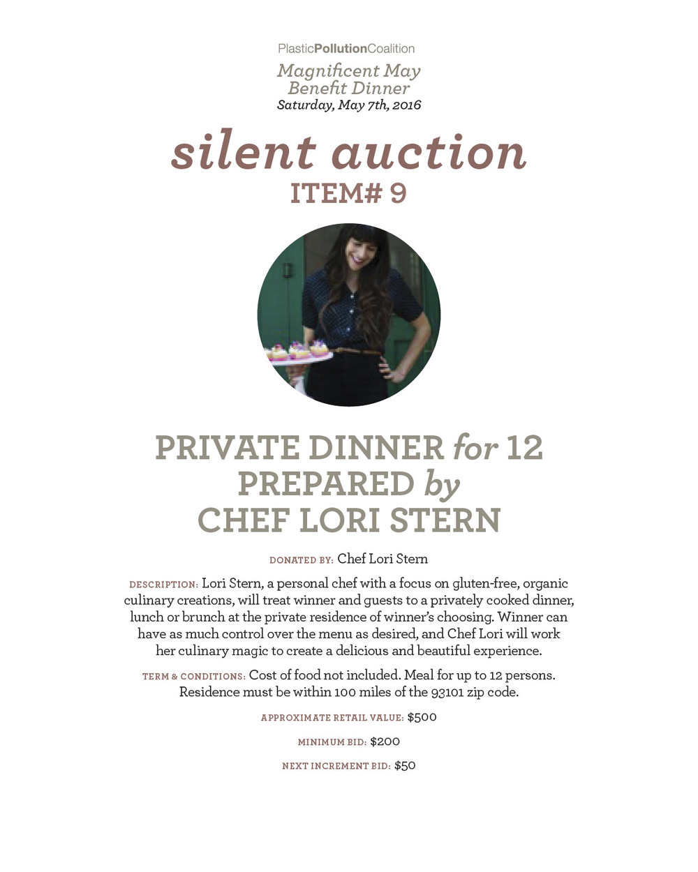 private dinner for 12