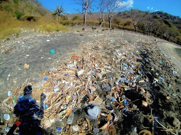 Gili Island beach inundated with plastic. Photo by Pam Longobardi