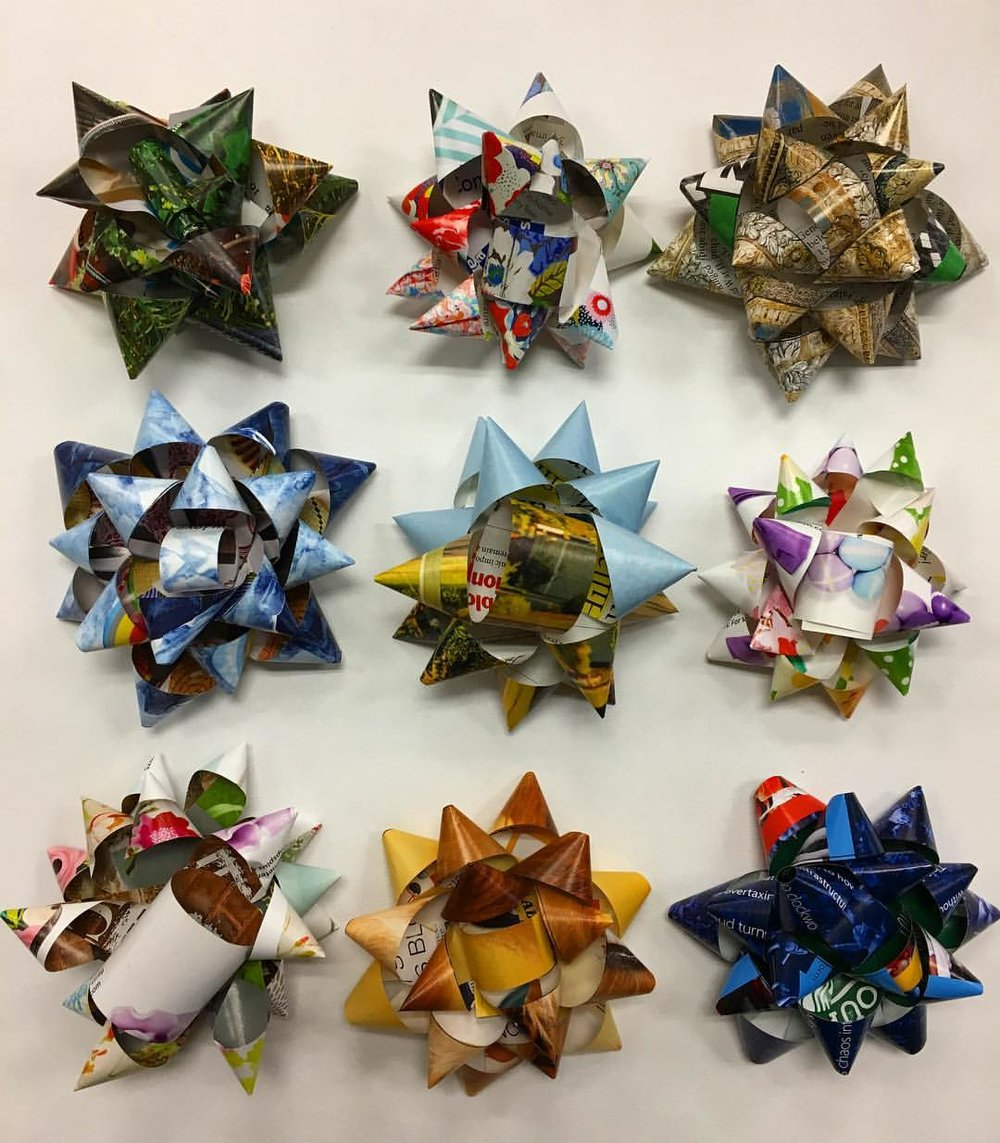 Recycled gift bows from the  Andrew Jackson Art Program