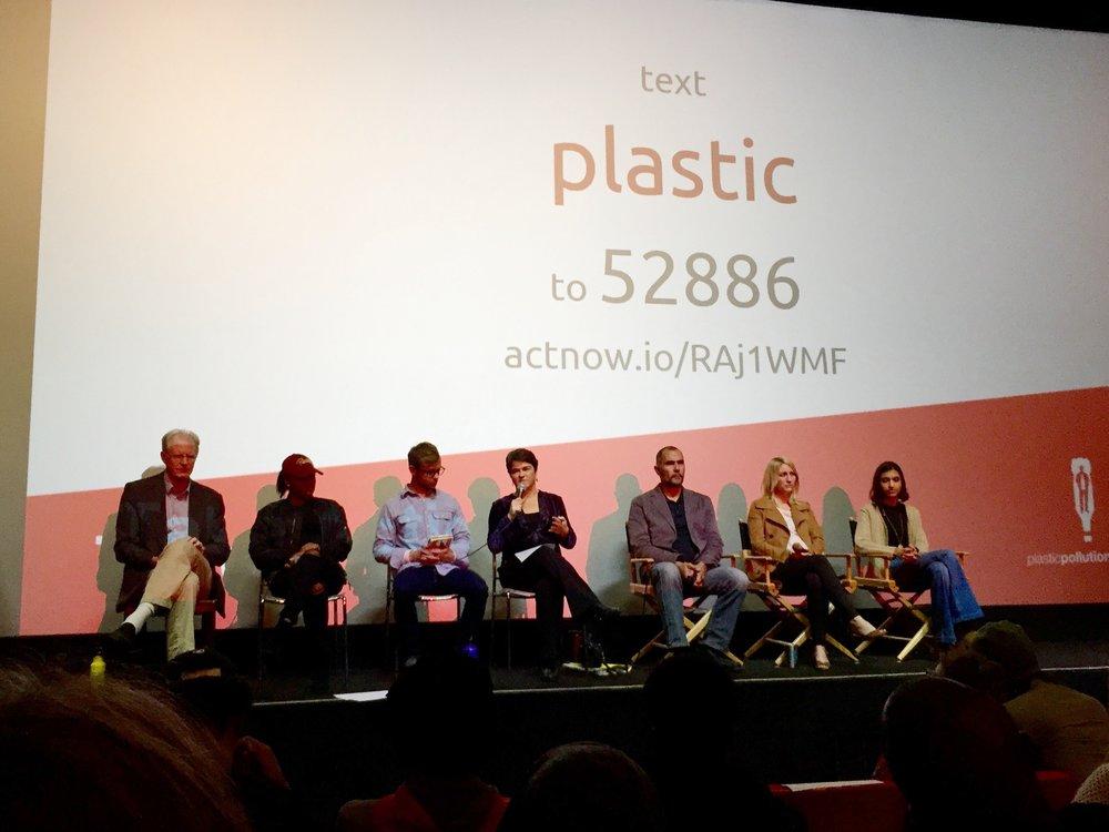 Panelists from left: Ed Begley, Jr.,Jordan Howard, Benjamin Kay, Christie Keith, Marcus Eriksen, Katie Allen, and Anushka Bhasker.