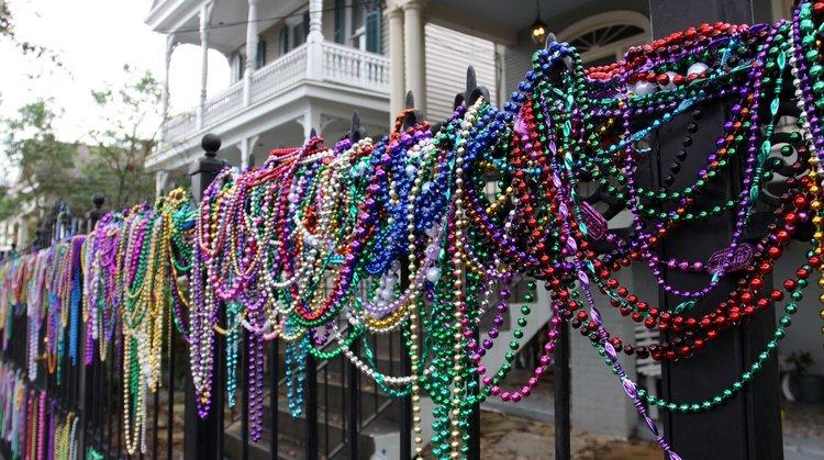 Colorful Strands Of Mardi Gras Beads Photo Via Baton Rouge Moms