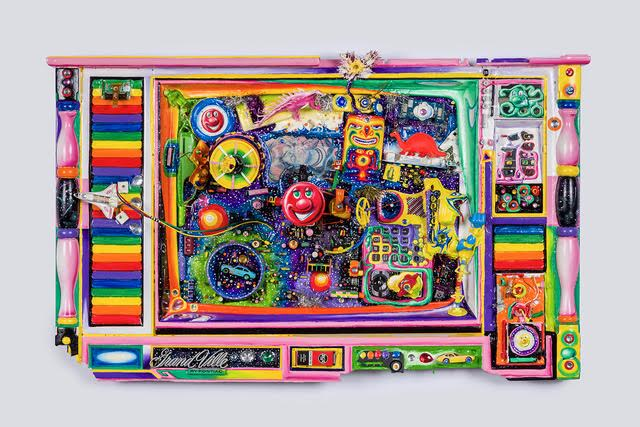 Kenny Scharf,  Televisione del Psychedelico , 2016, Mixed media assemblage