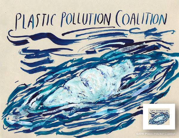 """Plastic Pollution Coalition"" print from original painting, 2010 - 30"" x 24"" - edition of 25 - $1000"
