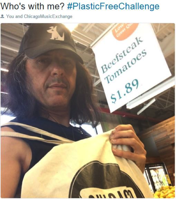 Alex Skolnick  guitarist from the popular metal band  Testament  shows his reusable bag.