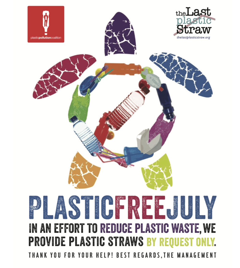 Use this poster to ask local eateries to switch to straws upon request during the month of July.