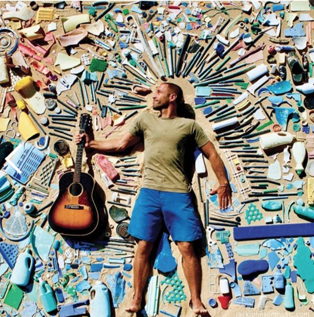 Jack Johnson with plastic pollution collected on beaches in Hawaii.