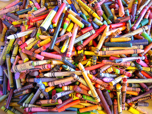 Used crayons ready for recycling