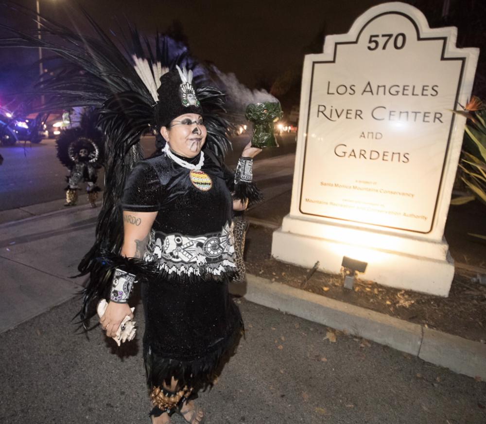 Aztec dancers led the procession. Photo via LA Sanitation.