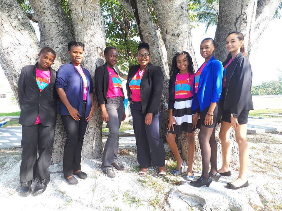 The Bahamas Plastic Movement Youth Delegation with Kristal Ambrose (center)