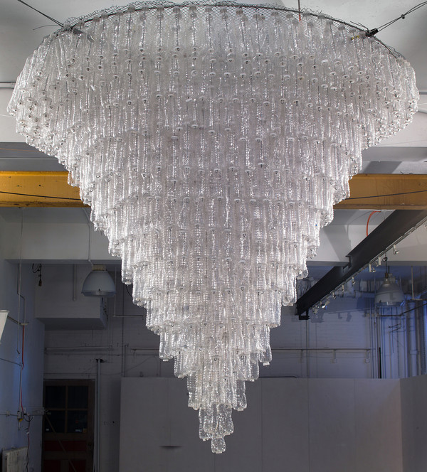 Willie Cole, Chandelier, 2015/2017, plastic bottles and metal armature. Image: Willie Cole.