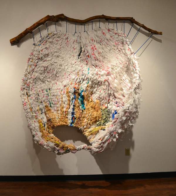 "Ifeoma U. Anyaeji, ""Akpalakpa II (Weave),"" 2012, repurposed, used, non-biodegradable discarded plastic bags, metal wire, and wood.Image: Ifeoma U. Anyaeji / Skoto Gallery, New York"
