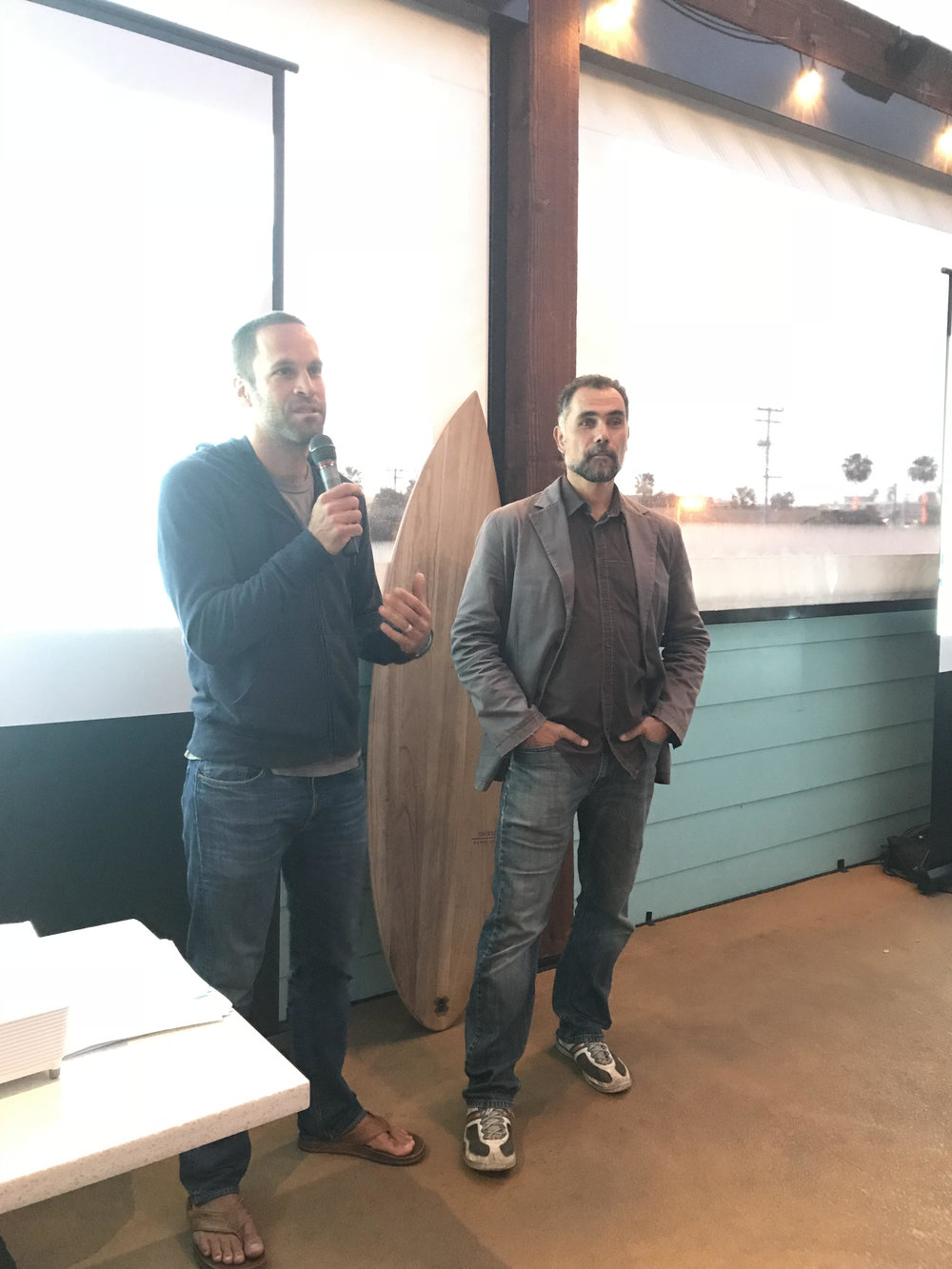 PPC Notable Member Jack Johnson and 5Gyres' Marcus Eriksen at the conference's 'Smog of the Sea' film screening.