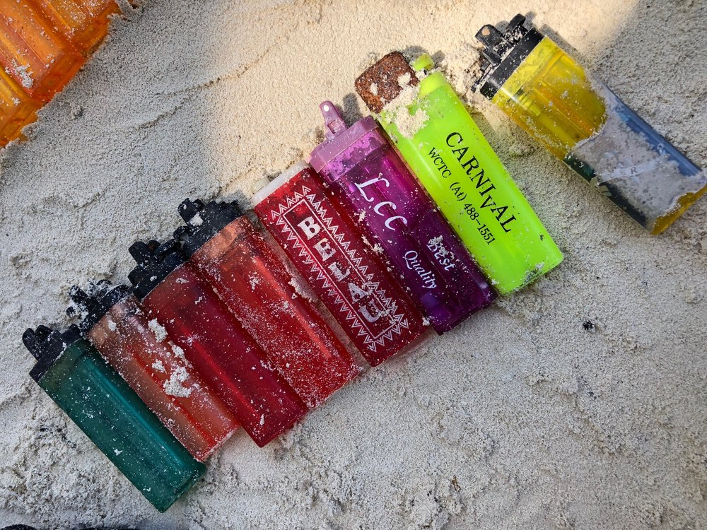 Plastic lighters collected from the beach. Photo by Wayne Sentman.