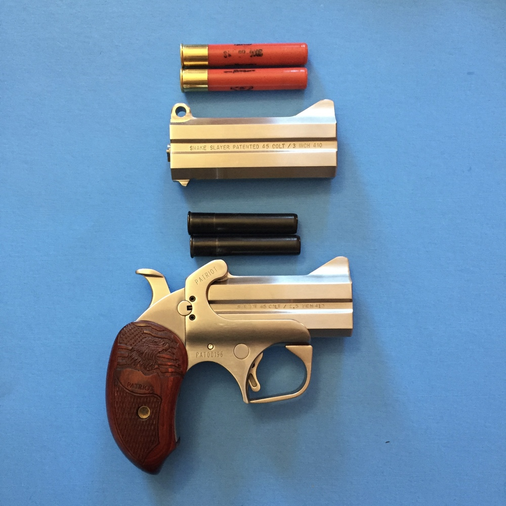 """The 3 1/2"""" barrel set, top with 3"""" 00 Buck .410 shells and the 3"""" barrel set, below, with .410 self defense rounds (3 copper disks and 12 BB pellets each)"""