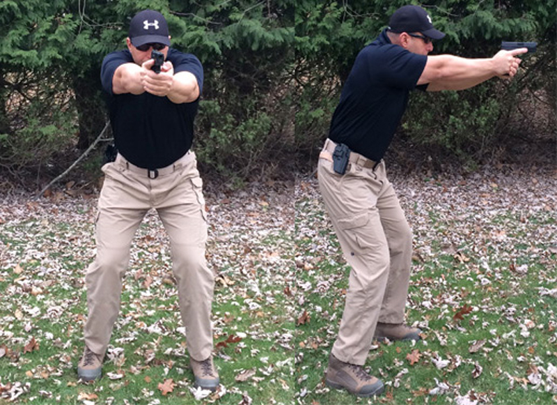 The Isosceles Stance. If the assailant if close, say an arm's length from this man's extended gun, then the changes radically increase that he can get a hand on the gun to grab it or slap it away. Keep your gun close when the threat is close.