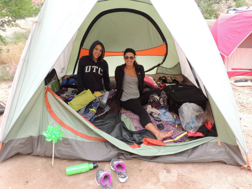 Ashlee and Alyssa getting settled in camp.