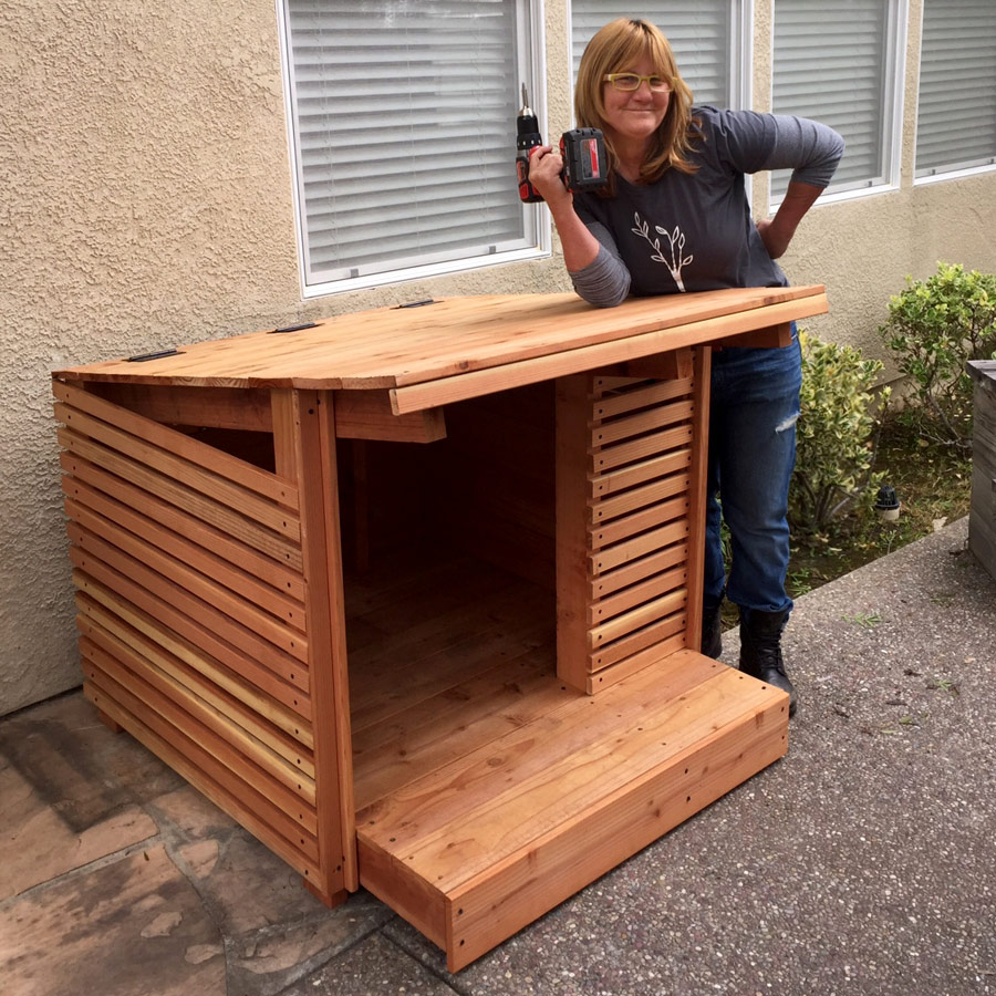 SARA STRONG AND ONE OF HER FAVORITE PROJECTS: REDWOOD DOG HOUSE