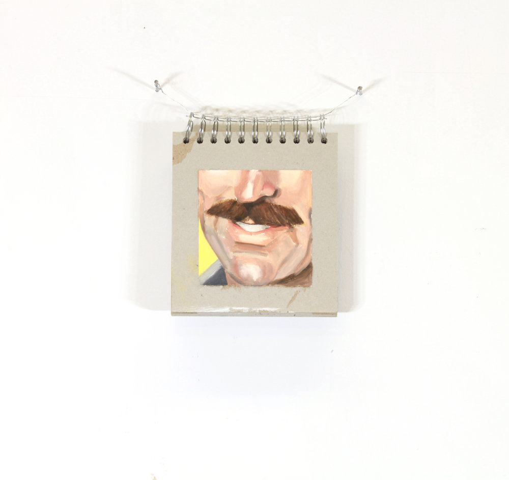 "Moustache Book  (detail) ,  2017  Oil on cardboard  Approximately 6"" x 5.5"""