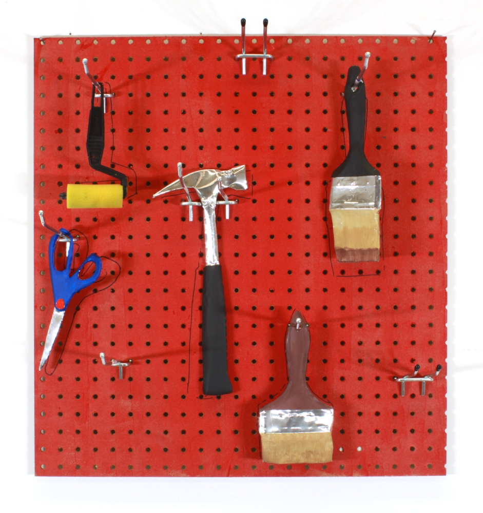 "Detail of  Man-Cave 2  (tools) ,  2017 Aluminum, acrylic paint, pegboard and hardware Pegboard is approximately 25"" x 26"""