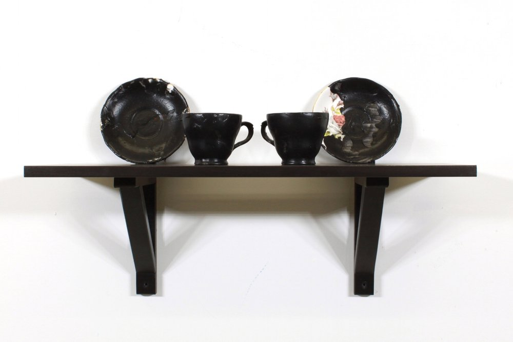 "Detail of  Man-Cave 2  (Tea Set 1) ,  2017 Found china, Plasti Dip, shelf Self is approximately 23"" x 10"" x 10"""