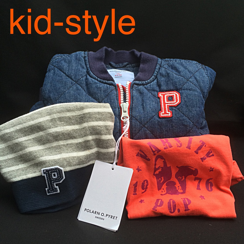 """I was introduced to  Polarn O. Pyret by two of our best friends - Gill & Leonie (who now live in Singapore - sad face). They taught us a lot about kid-style and parenting. We love the brand almost as much as we love their family.  Selfishly, it is my favorite, because it has a """"P"""" and several French Bulldog options. So, I think of it as Parker's signature brand. Every kid should have their own signature line. Don't you think? Plus, their cotton is super yummy and soft!  Tip: Sign up for their emails and you will get notified about their great sales. I buy years in advance.  I also love that they are a company that gives back. Definitely check out their partnership with  thredUP ."""
