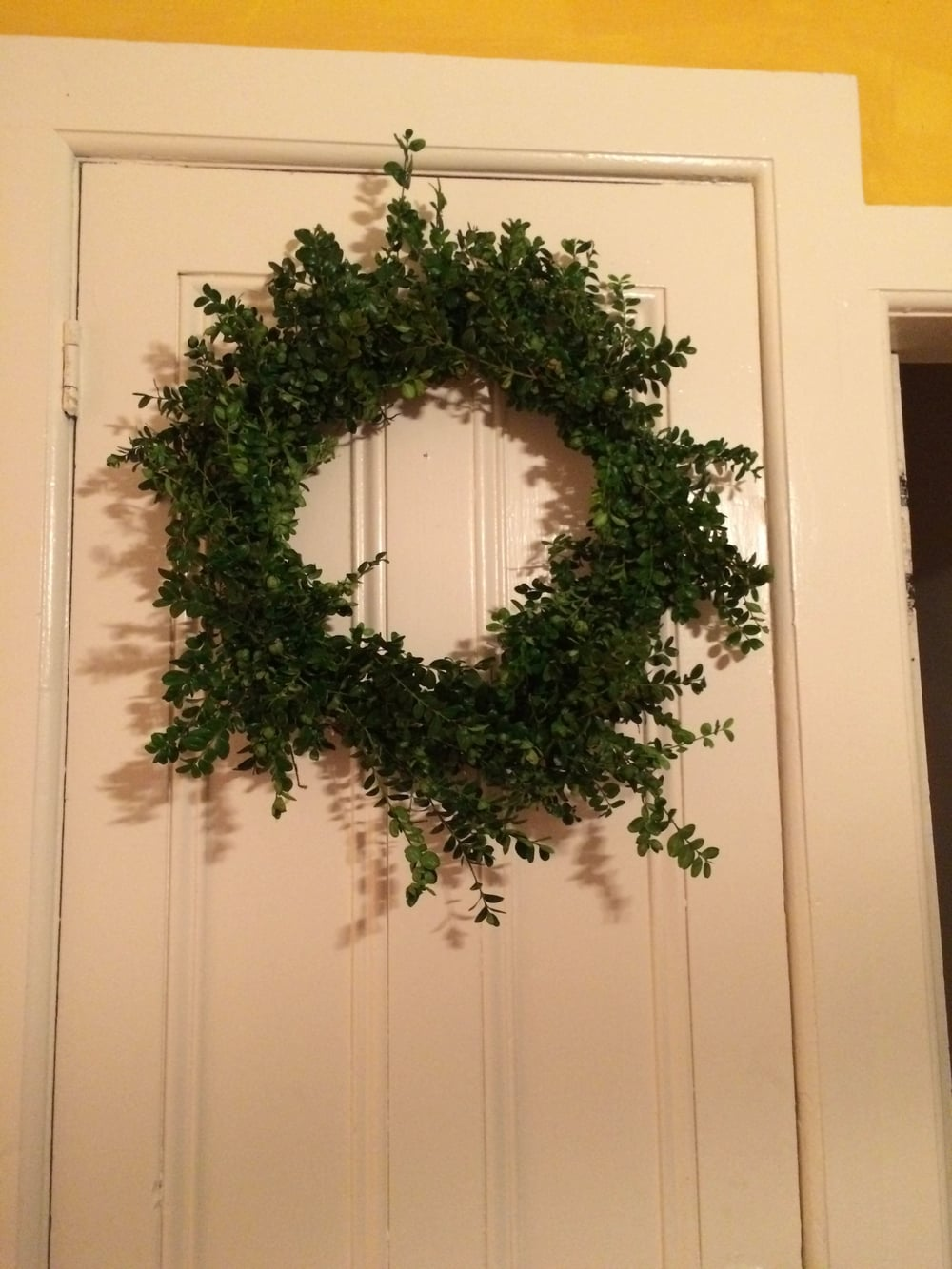 Boxwood wreath, made with boxwood from the property.