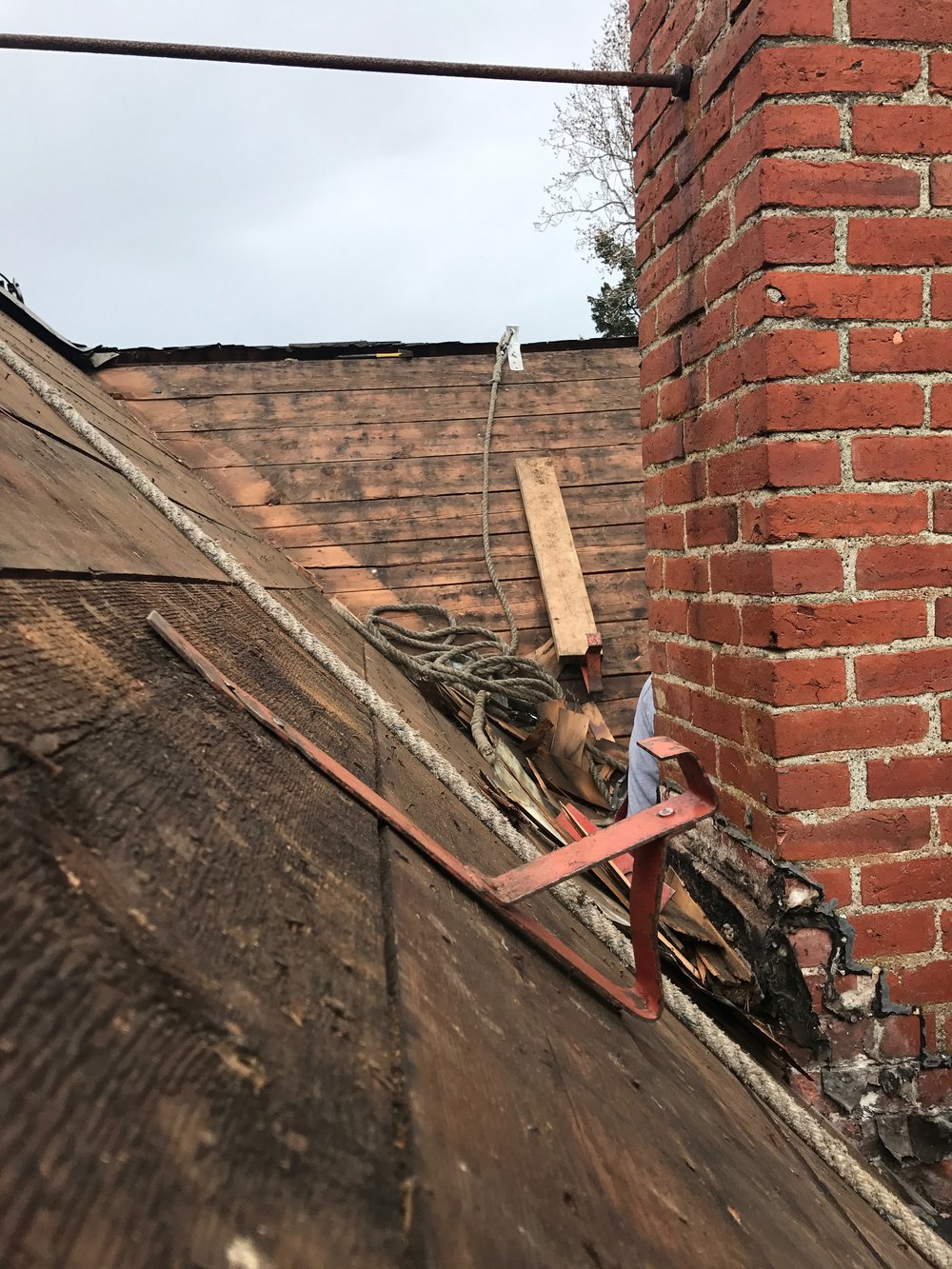 Part of the roof when shingles were removed