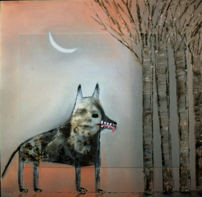 Small Wolf With Forest: Painting by Holly Roberts