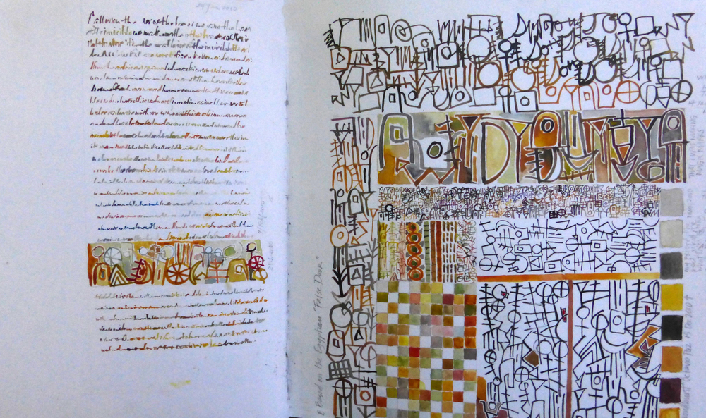 """Arcana Alphabet"" in the form of the false door on an Egyptian tomb L Doctor Sketchbook"