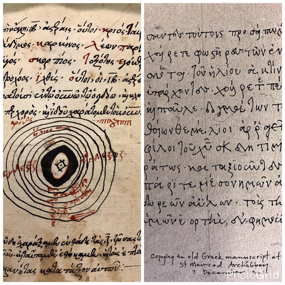 Old Greek manuscript on astronomy on the left, me copying a page from the book on right  (The book is smaller than my hand).