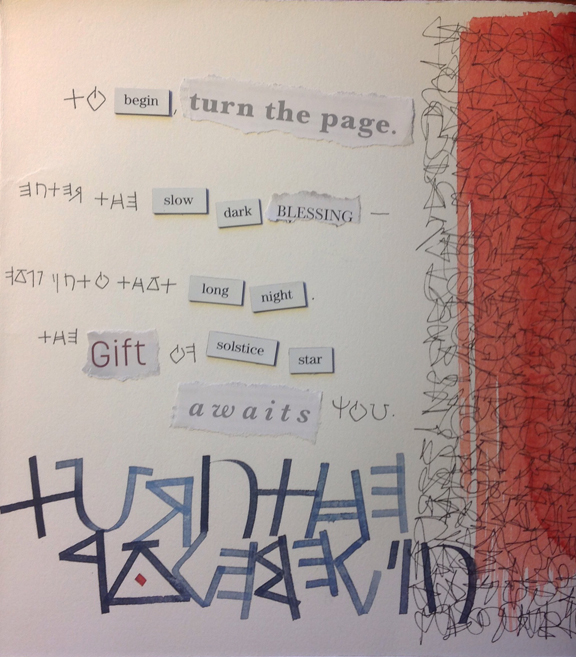Playing with poetry, book page from Noelle Gulden