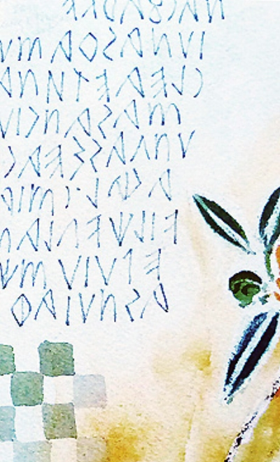 Olive branch, Etruscan writing on the tomb  – L Doctor Sketchbook