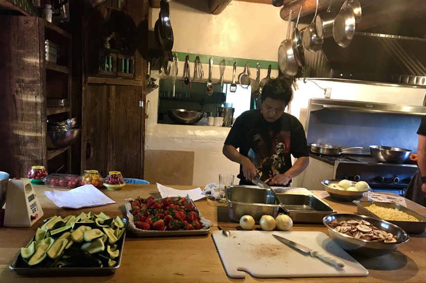 Delicious food, including fresh fruits and vegetables at Mabel Dodge Luhan kitchen.
