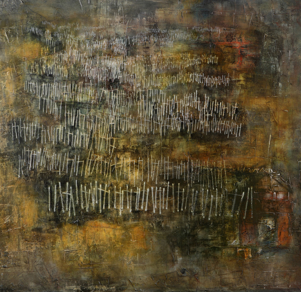 I found myself in a dark wood (Dante)  Mixed media, writing with closed eyes on large canvas – L Doctor
