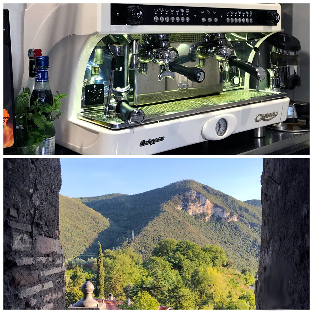 The espresso machine in Collestatte and a view out the medieval embrasure from the castle wall.
