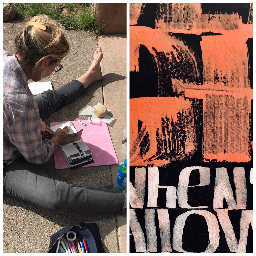 Summer Rodman working in the courtyard of our classroom (left) Summer's book cover (right)