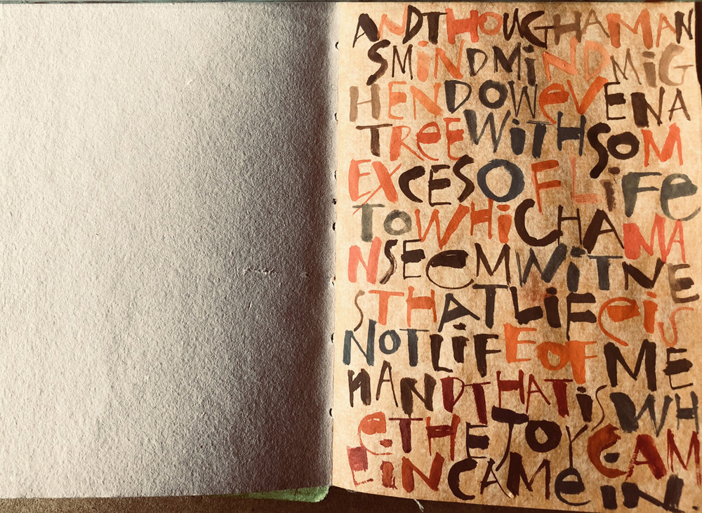 Small journal, lettering based on work of Ben Shahn            –Laurie Doctor
