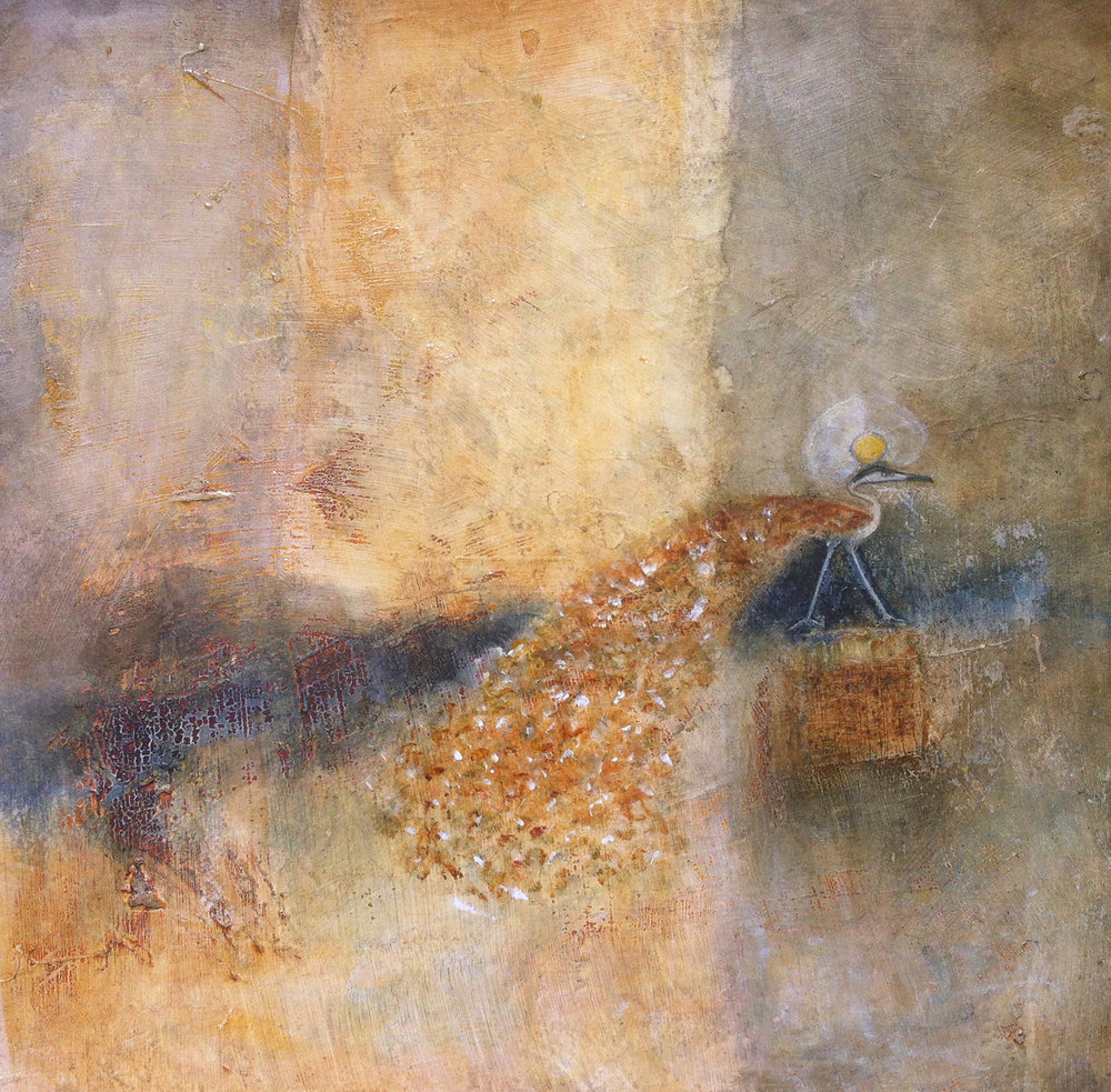 A Last Bird Crosses Over  Painting by L Doctor (From the collection of Trudy & Martin Ray)
