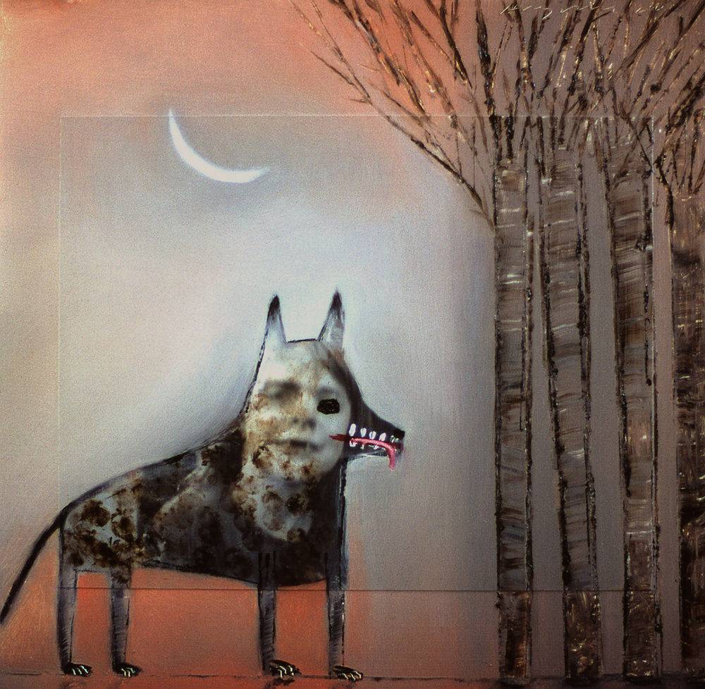 Wolf with Forest,  painting by Holly Roberts