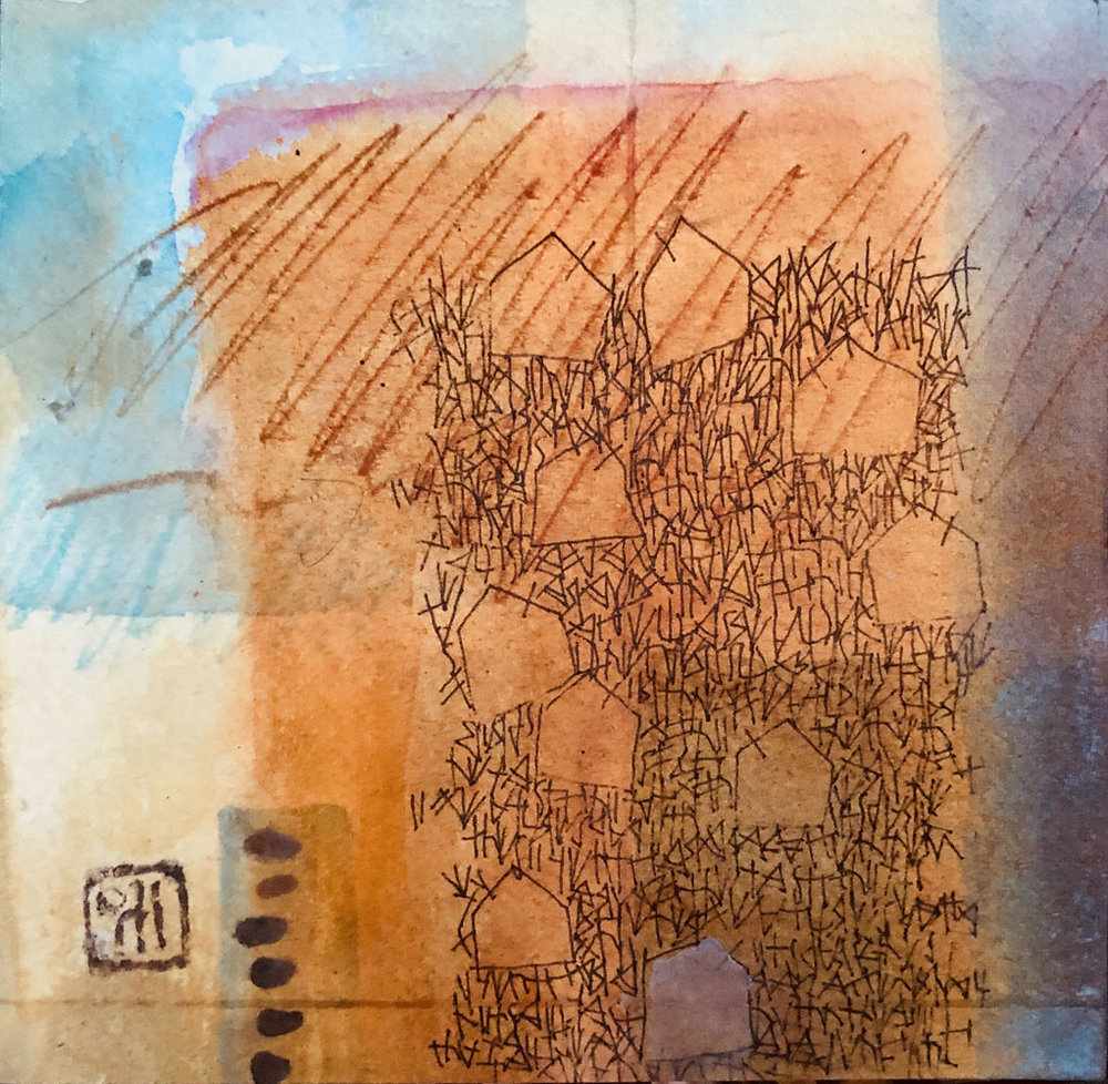 Winter Collects Layers of Blue,  mixed media on paper and wood panel, L Doctor