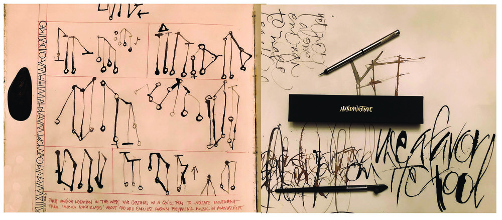 """(Left) writing with a mussel shell (Right) trying out my new """"Handwritmic"""" tool Brody Neuenschwander made famous, and my favorite travel brush, kolinsky sable from Dick Blick."""