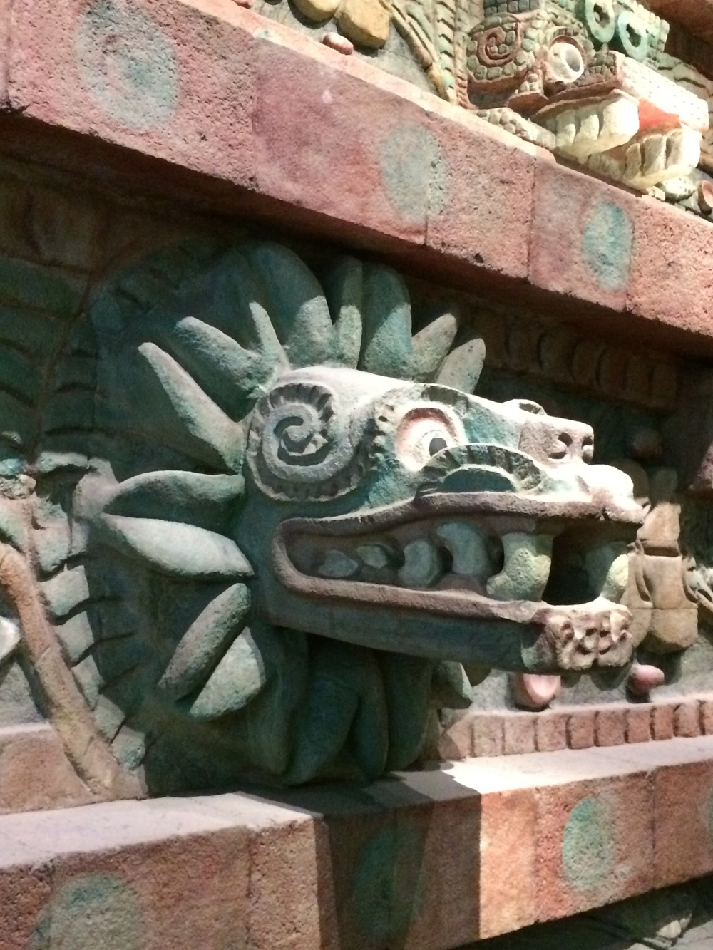 Another example of the native pigments used  on the stone carvings of the feathered serpent of the Teotihuacan pyramids. It is on display at the National Museum of Anthropology.  .