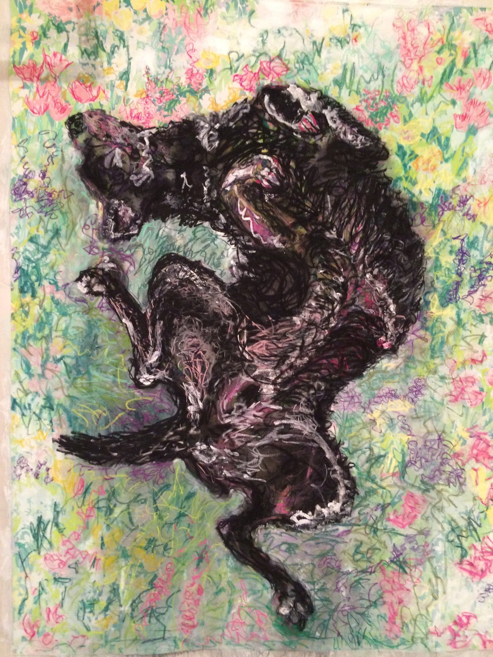"Happy dog in wildflowers      Collage, charcoal,  pastel  8' x 6'"" On cloth (vintage sheet"