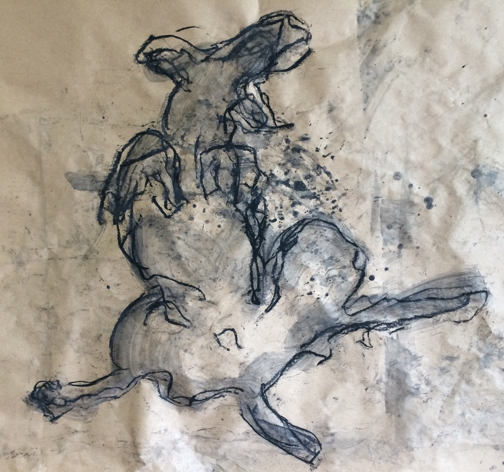 Happy dog XIV  Charcoal  On found object -brown paper