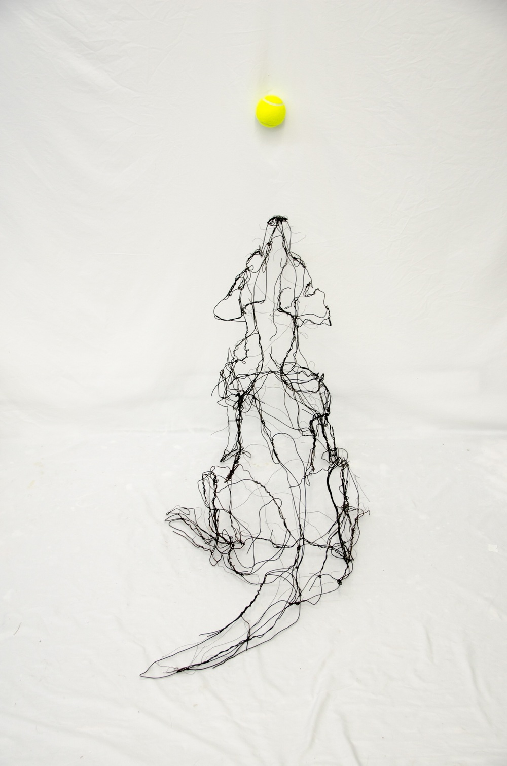 "shake shake shake -  sit! 41"" H X 37"" D X 19"" W 2016 wire and tennis ball"