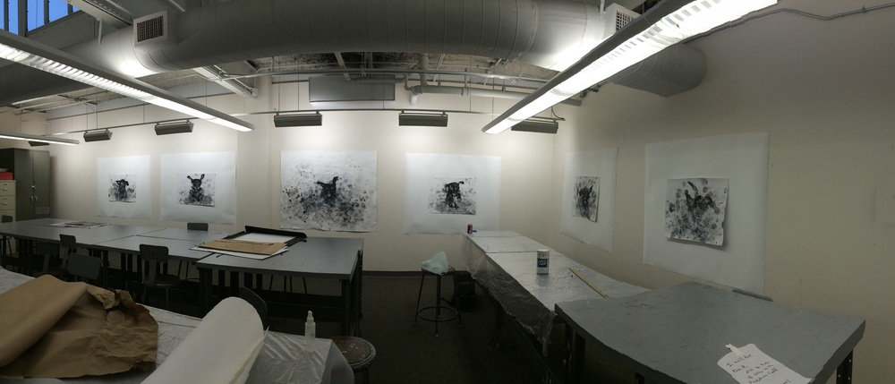 The six drawings push pinned on bigger paper.